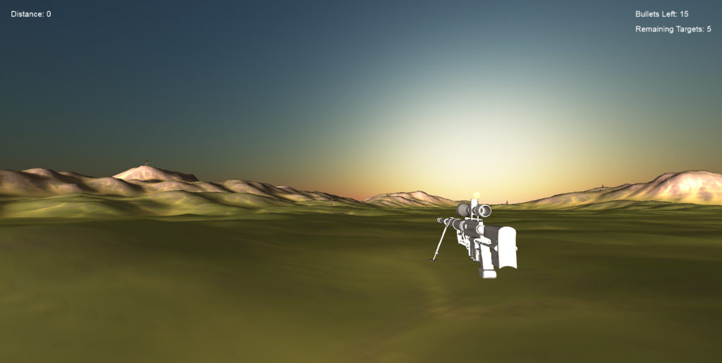 An animation in the beginning of the game of the player approaching the rifle scope.